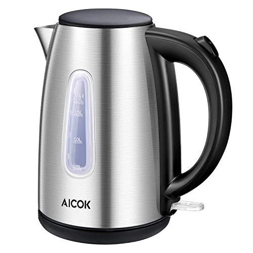 Wasserkocher 1.7 Liter Edelstahl Wasserkocher 2200watt Automatische Abschaltung Kochendem Trockenschutz...