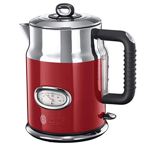 Russell Hobbs Wasserkocher, Retro rot, 1,7l, 2400W, Schnellkochfunktion, Wassertemperaturanzeige im...