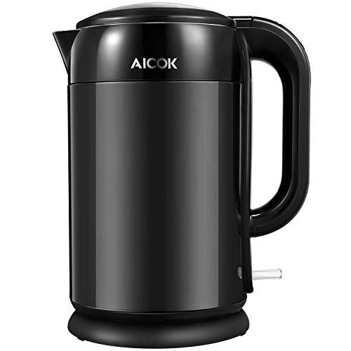 Aicok Wasserkocher Edelstahl Cool-Touch Doppelwand-Design Wasserkocher, 2200W Schnellkoch Wasserkocher,...