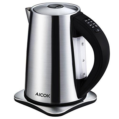 Aicok Wasserkocher Edelstahl, Wasserkocher Temperatureinstellung mit Warmhaltefunktion, BPA Frei Kessel,...