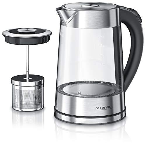 Arendo - Glas Wasserkocher mit Temperatureinstellung und Teesieb Teekocher - Einstellbare Temperaturen...