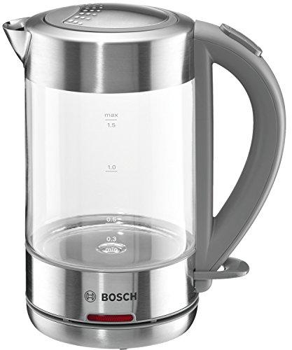 Bosch TWK7090 Glas Wasserkocher, 1-Tassen-Funktion, Dampfstopp-Automatik, entnehmen Kalkfilter, 2200 W,...